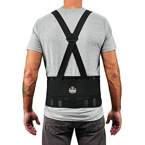 Ergodyne ProFlex 1625 Back Support Brace, Stays and Rubber Webbing for Snug Fit, Removeable Straps, Adjustable,Black,Large