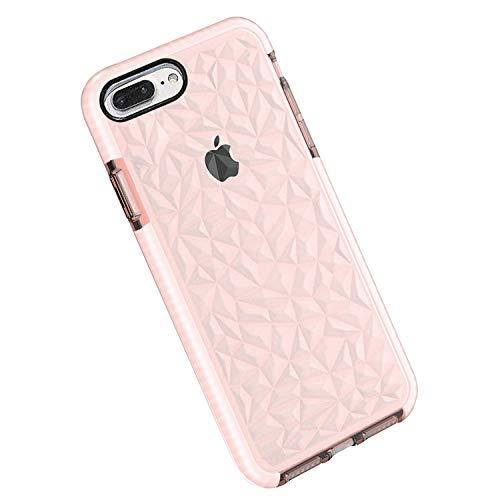 Funda iPhone 8 Plus / 7 Plus, Carcasa Silicona Transparente Protector TPU Airbag Anti-Choque Ultra-Delgado Anti-arañazos Case 3D Modelo de Diamante Funda (iPhone 7 Plus / 8 Plus, Rosa)