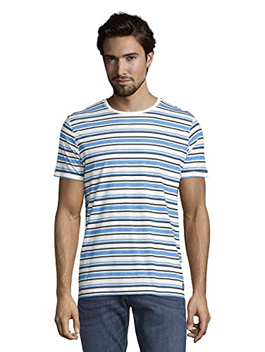 Tom Tailor 1020894 Stripe Camiseta, Bright Ibiza Blue 26178-Juego de Mesa, L...