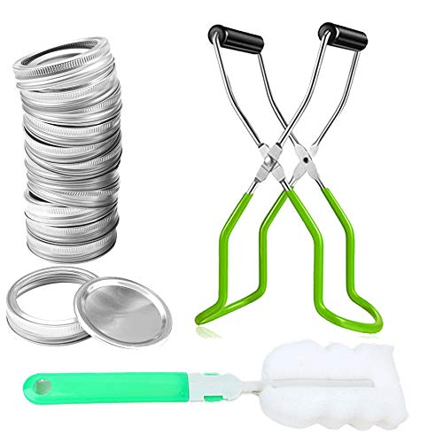 Canvall Canning Kits: Canning Jar Lifter with Rubber Grips, Regular 70mm Mouth Mason canned lid 12 Pcs & Sponge Cleaning Brush, for Home Kitchen or Restaurant