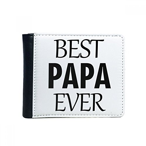 Beste Papa ooit Quote Vaderdag Flip Bifold Faux lederen portemonnee multifunctionele kaart portemonnee cadeau