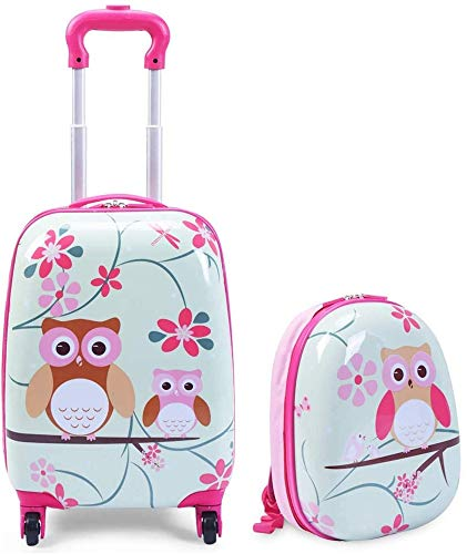 Bcaer Children's suitcases, travel suitcases, children's trolley suitcases, cute backpacks suitcases, girls' mother and child suitcases,Pink