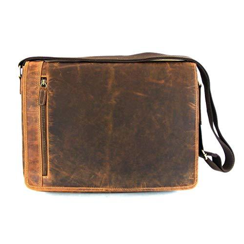 HGL Hunter Leder natur unisex Tasche Überschlagtasche Echt-Leder Fächer 9820