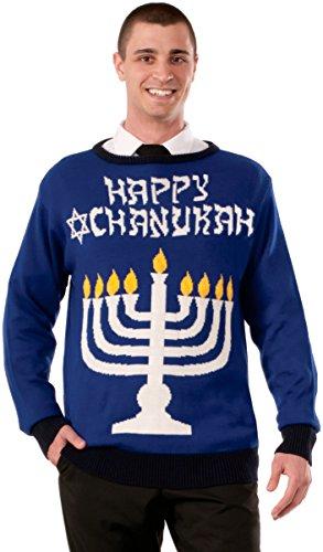 Forum Novelties Men's Plus Size Menorah Chanukah Sweater, Multi, X-Large