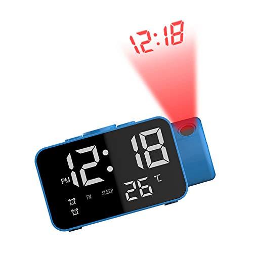 ZQJKL Projektionswecker Radiowecker Bedside Mains Powered Mit Großer Digitalanzeige USB-ladegerät Einstellbare Helligkeit Snooze Sleep Timer,Blue