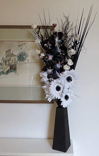 Bouquet unico, composto da fiori secchi e artificiali, alto 85cm, con vaso in legno, di produzione inglese Black White