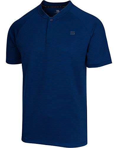Three Sixty Six Collarless Golf Shirts for Men - Men's Casual Dry Fit Short Sleeve Polo, Lightweight and Breathable Deep Navy