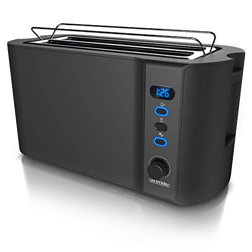 Arendo - Edelstahl Toaster Langschlitz 4 Scheiben - Defrost Funktion - wärmeisolierendes Gehäuse - mit integrierten Brötchenaufsatz - Krümelschublade - Display mit Restzeitanzeige - Schwarz Matt