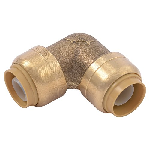 SharkBite U248LFA 90 Degree Elbow Pipe Connector Plumbing 1/2 In, PEX Fittings, Push-to-Connect, Coupler, Brass, CPVC, 0.5 Inch