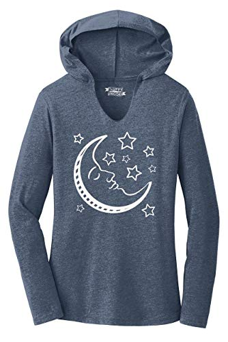 Ladies Hoodie Shirt Celestial Moon and Stars Navy Frost M
