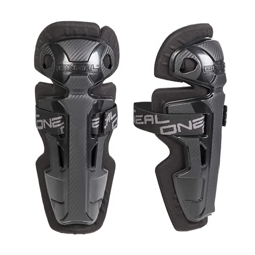 O'NEAL | Ellbogenprotektor | Kinder | Motocross Enduro | Bequemer Schienbeinschutz, Robuste Plastikschalen, elastische Velcro®-Klettbänder | Pro II RL Carbon Look Knee Cups Youth | Schwarz | One Size