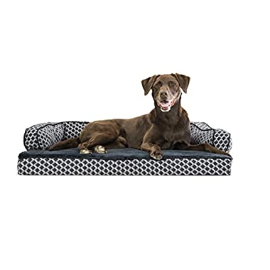 FurHaven Plush & Decor Orthopedic Comfy Couch Sofa-Style Pet Bed, Large, Diamond Gray