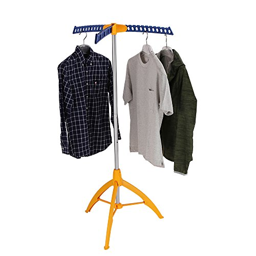 Collapsible Clothes Drying Rack, Portable Clothing Garment Rack Indoor, Foldable Standing Laundry Racks for Drying Clothes, Tripod Stand, Hangaway Garment Rack, Steamer Hanger Stand, Orange and Blue