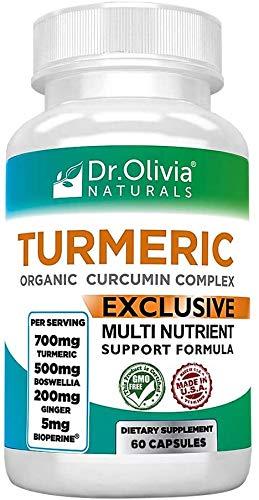 Dr. Olivia's Organic Turmeric Complex with Curcumin Boswellia Ginger & BioPerine - 60 Capsules