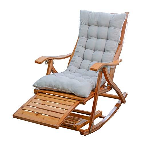 Liegestuhl HAIYU-Schaukelstuhl aus Holz Klappliege Garten/Balkon/Terrasse Freizeitsonnenliege Siesta-Sessel für ältere Menschen mit Verstellbarer Rückenlehne, mit Matte(Color:Grau,Size:Kurze Mat)