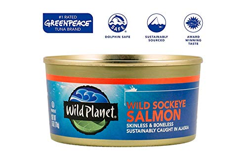 Wild Planet Wild Sockeye Salmon, Skinless & Boneless, 6 Ounce, Pack of 12 & Wild Sardines in Extra Virgin Olive Oil, Lightly Smoked, Keto and Paleo, 4.4 Ounce, Pack of 12 3