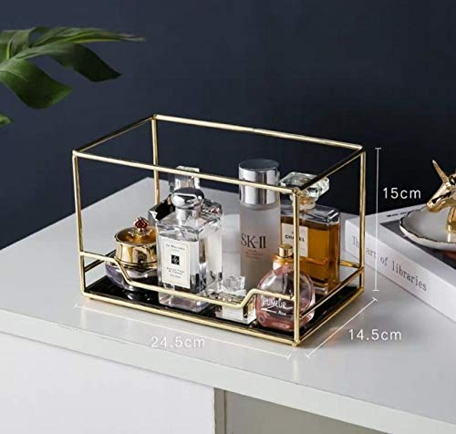 Caja de Almacenamiento de Escritorio cosmética giratoria nórdica Organizador de Maquillaje Transparente Bandeja de Vidrio de 2 Niveles Tocador Estante de Acabado - Nivel B