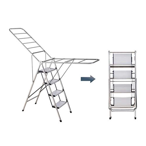 SZQ-Vouwtrappen Huishoudelijke kleerhanger, Family Four Steps RVS ladders Barber Shop Dual-purpose Ladder Frame Handdoek/bad Handdoekrek Multifunctionele ladders (Size : 86 * 101cm)