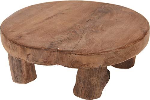 Présentoir en bois teck avec pieds 20 x 7 cm