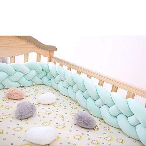 OLDSAN Cojín Trenzado de Parachoques para Cuna de bebé,Almohada Cojín Guardería Cuna Decoración Regalo Cuna Protector Algodón Light Green