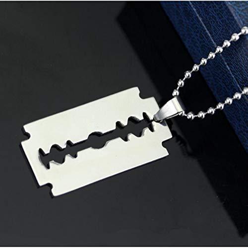 LANSS Heren RVS hart scheermes hanger zilver kleur kogelblad ketting halsketting heren sieraden staal ketting
