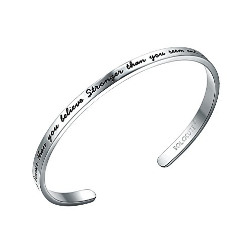 Solocute Sterling Silver Cuff Bangle Bracelet Engraved You are Braver Than You Believe Stronger Than You Seem and Smarter Than You Think Inspirational Jewelry
