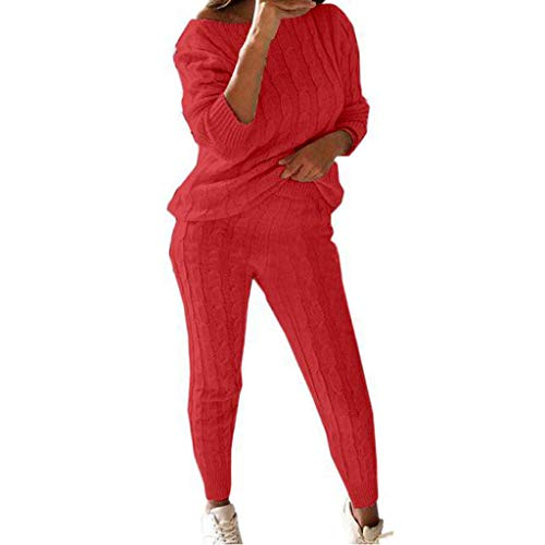 Top for Women Fashion 2020 Ladies Solid Round Neck Cable Knitted Warm 2PC Loungewear Suit Set 4th of July, Blouses of Short Sleeve Onsale Watermelon Red XXXL