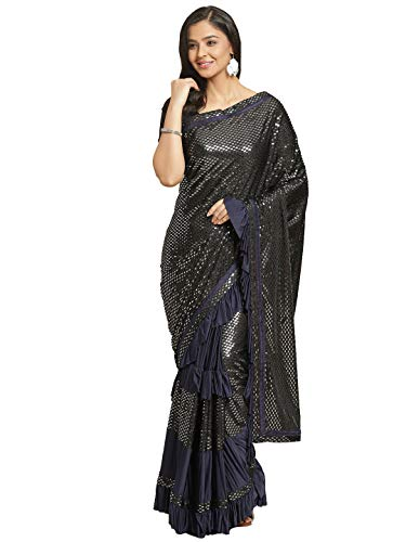 chhabra 555 Georgette with Blouse Piece Saree (DCOG1365_Navy Blue_OneSize)