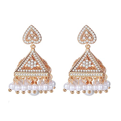 Braiton Elf Tower Earrings Copper Inlaid AAA Zircon Indian Style Creative Heart-Shaped Pearl Earrings Women's Earrings Pearl Chandelier Tassel Large Dangle Vintage Ethnic,Style 2