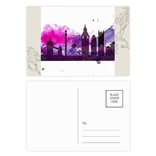 DIYthinker UK Engeland londen paars aquarel bloem ansichtkaart set dank kaart mailing kant 20 stks 5.7 inch x 3.8 inch Multi kleuren