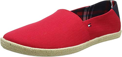 Tommy Hilfiger Easy Summer Slip On, Alpargatas para Hombre, Rojo (Tango Red 611), 43 EU