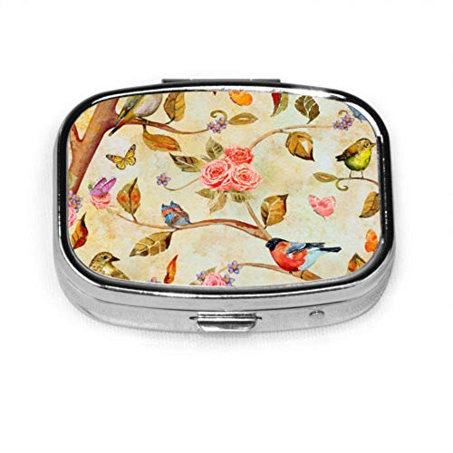 Shabby Chic Fantasy Forest Birds Butterfly Medicine Carrying Case Pill Case for Teens Organizer Case