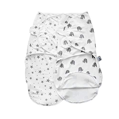 Pucksack Baby 0-3 Monate aus 100% Bio-Baumwolle mit Reissverschluss Pucktuch für Neugeborene Puckschlafsack - 2er Pack (Grau-Weiß)