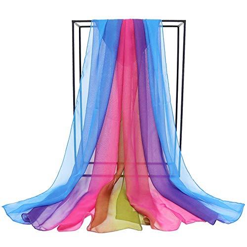 Bufanda De Color Degradado De Gran Tamaño Para Damas,...