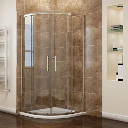 Duschkabine 90x90 mit Duschtasse, Viertelkreis Schiebetür Dusche Duschwand, NANO Glas, Höhe 185cm