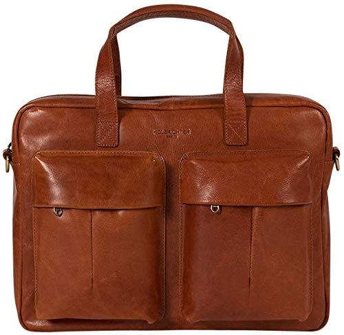 HOLZRICHTER Berlin Briefcase (M) - Premium Vintage Aktentasche aus Echtleder - Handgefertigte Laptoptasche - Cognac-Braun