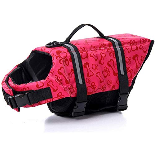 HWZZ Chaleco salvavidas reflectante para perro perro chaleco salvavidas para perritos, ropa de perrito, chaleco salvavidas ajustable, chaqueta de baño de verano, rosa, XL