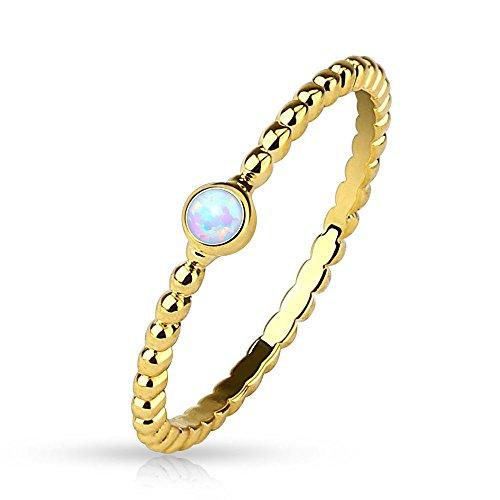 Bungsa® 49 (15.6) Damenring mit Opal Kristall Stein Gold (Ring Damen Fingerring Partnerringe Verlobungsringe Trauringe Damenring Brass 14Kt)
