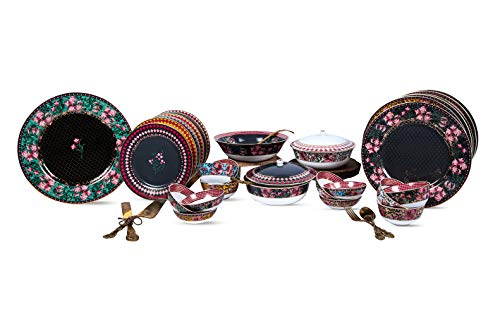 Vikas Khanna By Celeste Moksha - Juego de vajilla de cerámica (24 K, chapado en oro de 24 quilates), color negro carbón