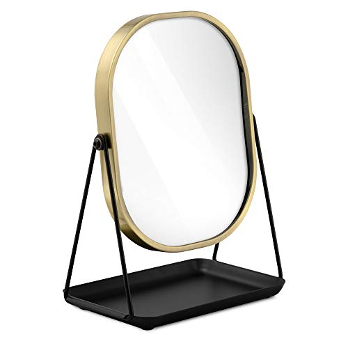 Navaris Magnifying Dressing Table Mirror - Double-Sided 1x/3x Magnification Makeup Mirror with Tray for Tabletop, Bathroom, Bedroom - Black and Gold
