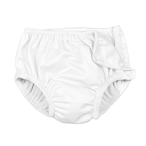 i play. Swim Diaper with Snap Buttons, New White