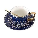 WILDKEN Taza de té Vintage y platillo set de Cerámica Taza de Café Platillo para Regalo de té de la Tarde en Caja, Porcelana Hueso (azul)