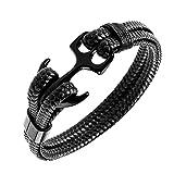 Bracelet ancre cuir (20 cm)