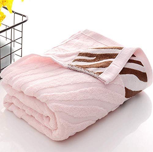 Toalla de baño para adultos de fibra de bambú, toalla de baño de secado rápido, toalla de baño anti-desvanecimiento, absorción de agua, suave, 400 g, adecuado para baño, gimnasio, 70 * 140 cm,Rosado