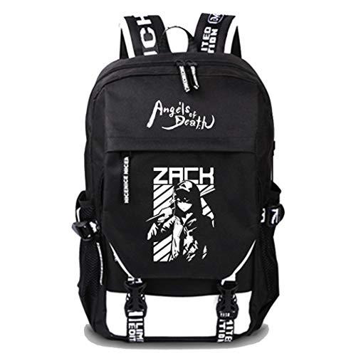 WANHONGYUE Angels of Death Spiel Cosplay Schultasche Rucksack Laptop Backpack mit USB-Ladeanschluss Schwarz / 15