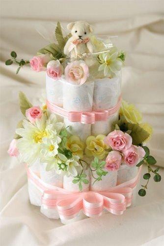 おむつケーキ 2段 ピンク 出産祝い 人気�bP シンプルで可愛い 結婚祝いにも サイズ選べます (パンパースMサイズ)