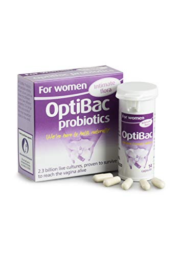 OptiBac for Women | Daily Oral 2.3 Billion Friendly Bacteria Natural Female Supplement for The Intimate Area | Lactobacillus Rhamnosus & Lactobacillus Reuteri (Pack of 14 Capsules)