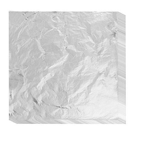 Vegena 100 Blätter Imitation Blattgold, 16x16cm Silber Blatt Blattsilber für DIY Vergoldung Handwerk Kunst Projekt Möbel Dekoration