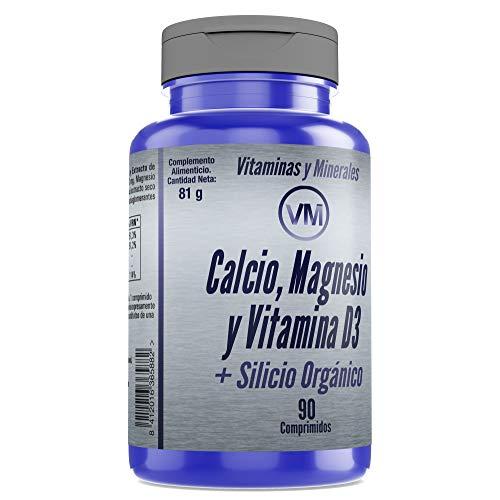 Vitaminas y Minerales| Calcio + Magnesio + Vitamina D3 + Silicio Orgánico| Buen mantenimiento de Huesos, Músculos y Articulaciones| Multivitaminerales| Piel Sana| 90 Comprimidos