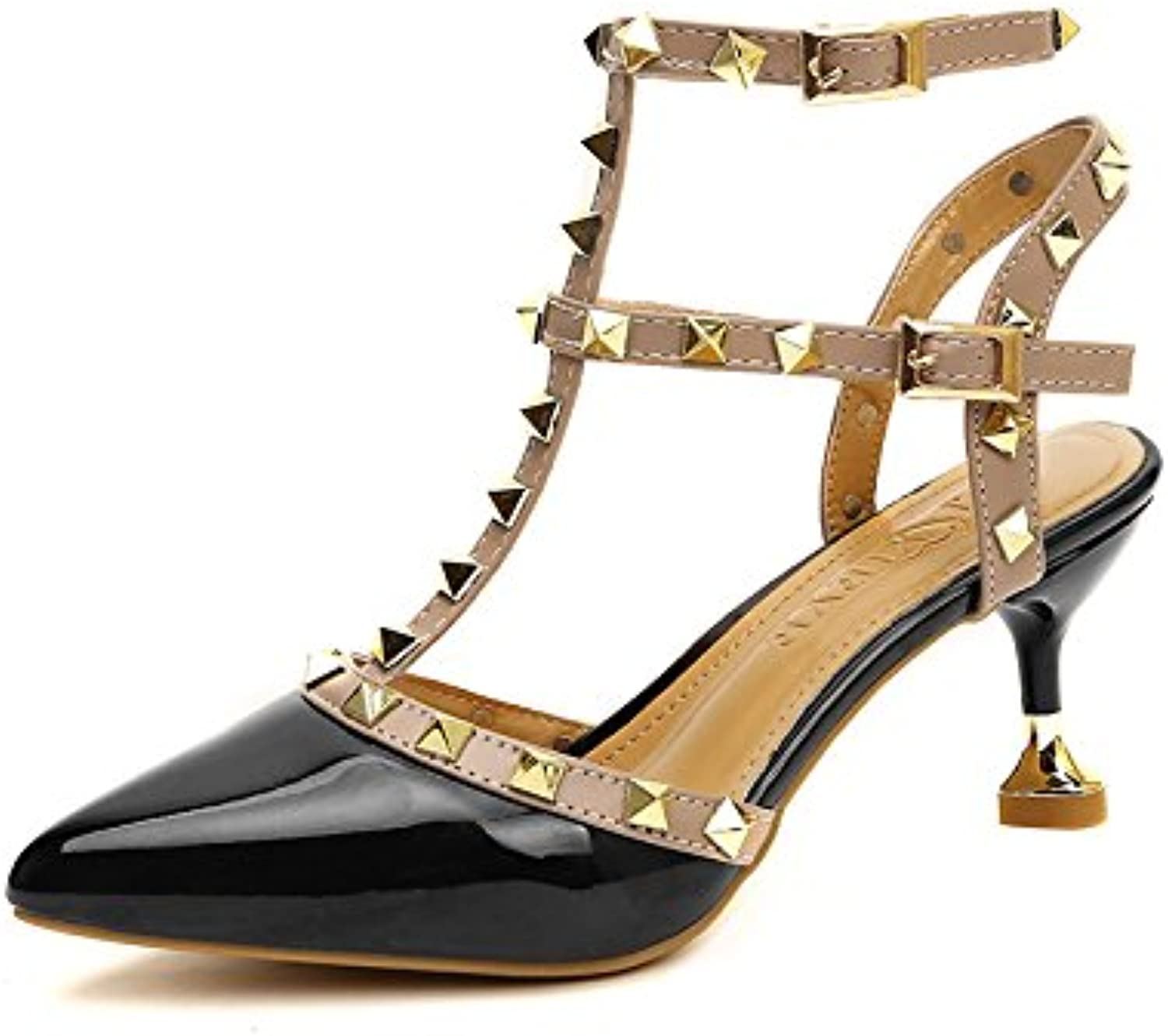 Liangligerivet Spiked shoes, Female Fine with High Heels, Single shoes, 34, Black Small One Yard